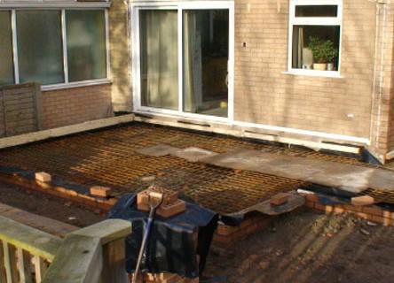 Preparation for reinforced concrete slab